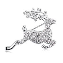 进口水晶胸针--快乐小鹿(白色)