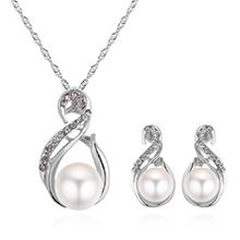 韩版个性麻花珍珠套装(银色)