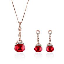 韩版时尚镶钻吊坠项链(红色)