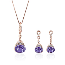 韩版时尚镶钻吊坠项链(紫色)
