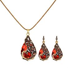 欧美时尚孔雀吊坠项链(红色)