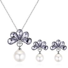 韩版时尚优雅气质花朵珍珠套装