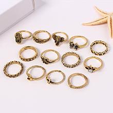 欧美时尚夸张戒指组合套装(古金)