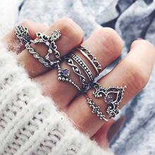 欧美时尚皇冠戒指套装(古银)