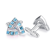 奥地利水晶袖扣--唯爱三角(海蓝)