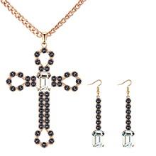 欧美复古创意十字架套装(仿香槟金+白色)