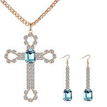 欧美复古创意十字架套装(仿香槟金+海蓝)