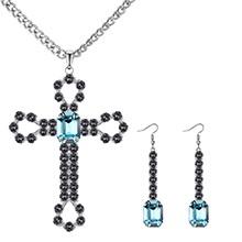 欧美复古创意十字架套装(仿白金+海蓝)