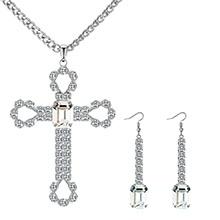 欧美复古创意十字架套装(仿白金+白色)