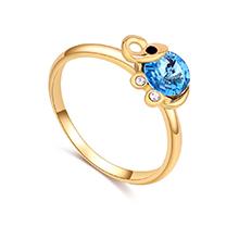 奥地利水晶戒指--清新小象(香槟金+海蓝)