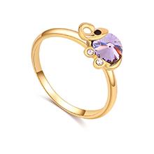 奥地利水晶戒指--清新小象(香槟金+紫罗兰)