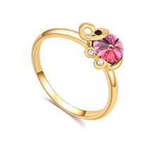 奥地利水晶戒指--清新小象(香槟金+玫红)