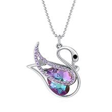 奥地利水晶胸针毛衣链两用款--自由天鹅(白金+紫光)