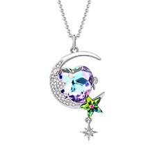奥地利水晶胸针毛衣链两用款--月上心湾(白金+紫光)