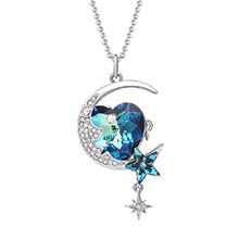 奥地利水晶胸针毛衣链两用款--月上心湾(彩蓝)