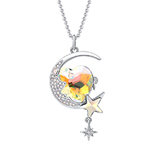 奥地利水晶胸针毛衣链两用款--月上心湾(白金+彩白)