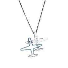 镀真金飞机挂件胸针毛衣链两用款(蓝色+海蓝+白色)