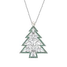 镀真金胸针毛衣链两用款--恋上圣诞树(白金+绿色)