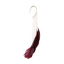 波西米亚风气质超仙羽毛耳挂(紫红)