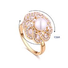 镀真金旋转戒指--转动的爱(14K金)