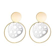 时尚百搭S925银针圆形新款耳环(白金+香槟金)
