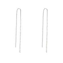 甜美小清新珍珠流苏S925银针耳环(白金)
