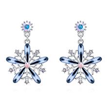 奥地利水晶S925银针耳环--雪花绽放(墨蓝)