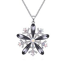 奥地利水晶项链--雪花绽放(黑钻石)