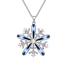 奥地利水晶项链--雪花绽放(墨蓝)