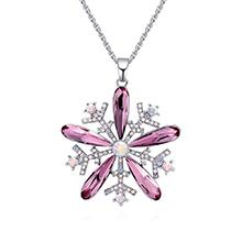 奥地利水晶项链--雪花绽放(古典粉红)