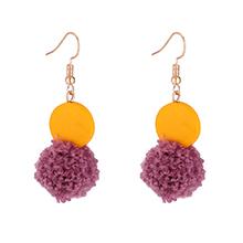 日韩风甜美气质糖果色毛球吊坠耳环(淡紫色)