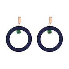 韩版气质潮人时尚圆圈耳环(蓝色)