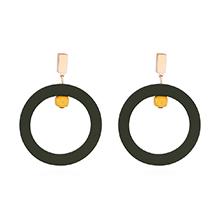 韩版气质潮人时尚圆圈耳环(墨绿)