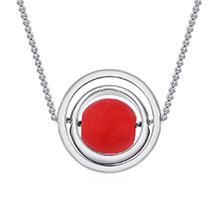 镀真金项链--琳琅弹珠(白金+红色)