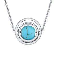 镀真金项链--琳琅弹珠(白金+蓝色)