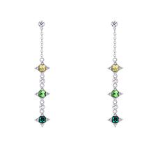 奥地利水晶S925银针耳环--幸运的星(淡黄+橄榄+绿色)