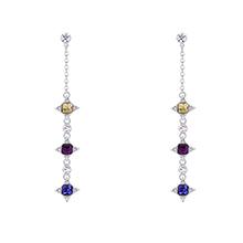 奥地利水晶S925银针耳环--幸运的星(金色魅影+紫色+藕荷紫)