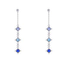 奥地利水晶S925银针耳环--幸运的星(浅蓝+海蓝+蓝色)