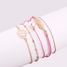 欧美范时尚气质树叶莲花珍珠手链套装