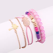 欧美时尚糖果色少女心菠萝椰树手链