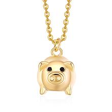 镀真金项链--宠萌小飞猪(14K金)