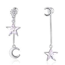 水晶S925银针耳环--奇月星空(白色)