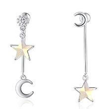 水晶S925银针耳环--奇月星空(彩白)