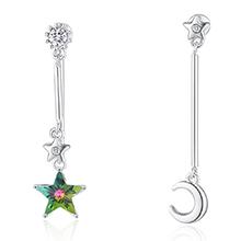 水晶S925银针耳环--追星逐月(七彩)