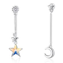 水晶S925银针耳环--追星逐月(彩白)
