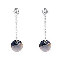 S925纯银水晶耳环--魔圆与密爱(银色夜影)