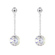 S925纯银水晶耳环--魔圆与密爱(彩白)