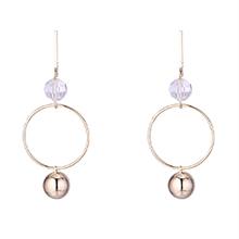 欧美镀真金时尚创意夸张圆形S925银针耳环(14K)