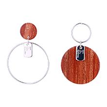 欧美镀真金大气夸张不对称圆形S925银针耳环(白金)