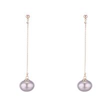 韩版镀真金气质时尚珍珠长款S925银针耳环(14K)